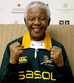 Nelson Mandela in rugby-outfit